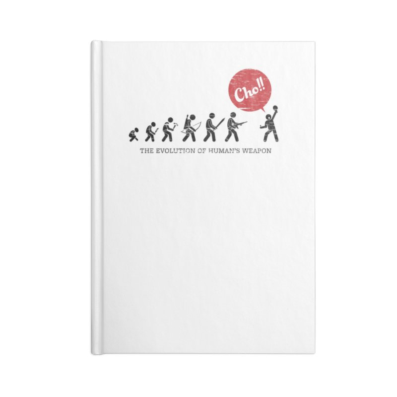 The Evolution of Human's Weapon Accessories Lined Journal Notebook by PingSunday's Table Tennis Merchandise.