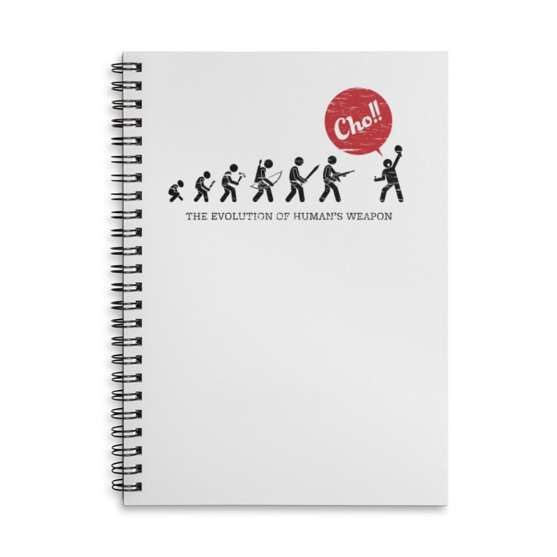 The Evolution of Human's Weapon Accessories Lined Spiral Notebook by PingSunday's Table Tennis Merchandise.