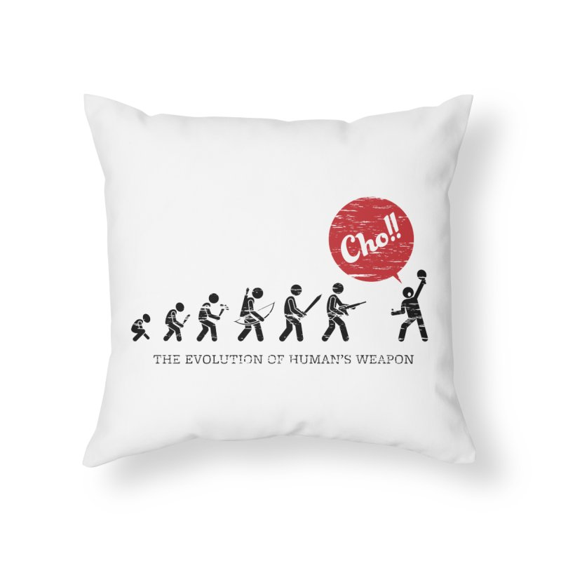 The Evolution of Human's Weapon Home Throw Pillow by PingSunday's Table Tennis Merchandise.