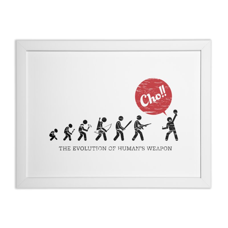 The Evolution of Human's Weapon Home Framed Fine Art Print by PingSunday's Table Tennis Merchandise.