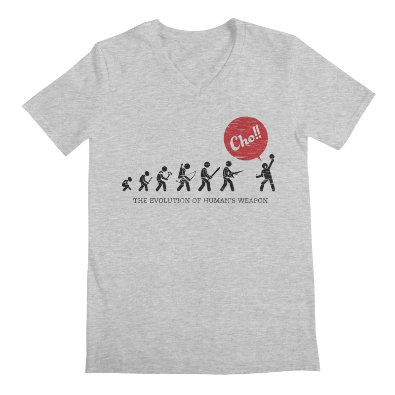 The Evolution of Human's Weapon Men's V-Neck by PingSunday's Table Tennis Merchandise.
