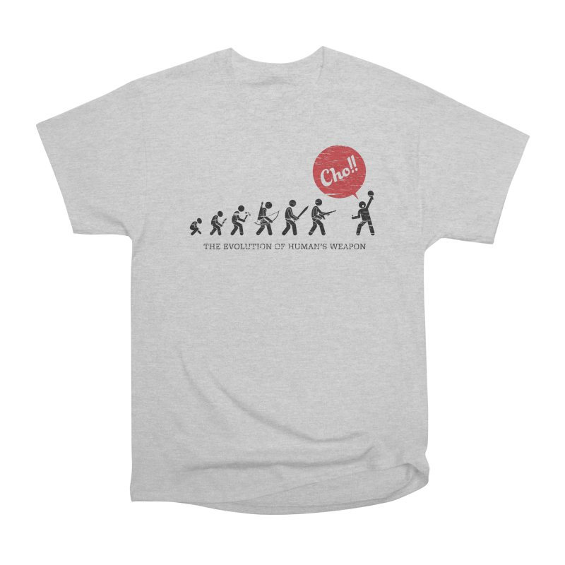 The Evolution of Human's Weapon Women's Heavyweight Unisex T-Shirt by PingSunday's Table Tennis Merchandise.