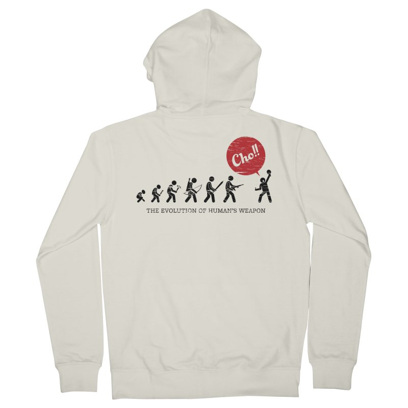 The Evolution of Human's Weapon Men's French Terry Zip-Up Hoody by PingSunday's Table Tennis Merchandise.