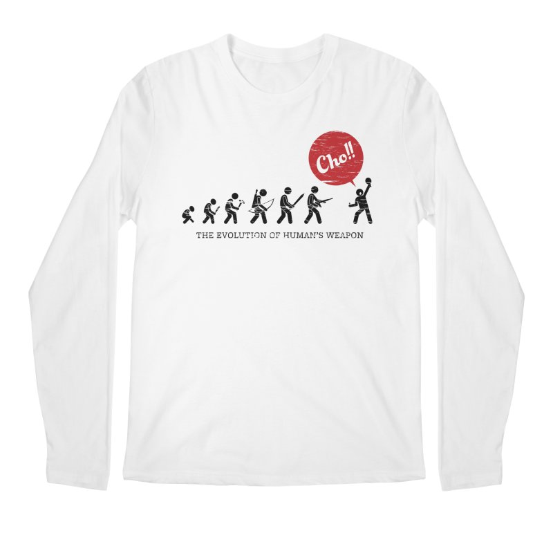 The Evolution of Human's Weapon Men's Regular Longsleeve T-Shirt by PingSunday's Table Tennis Merchandise.