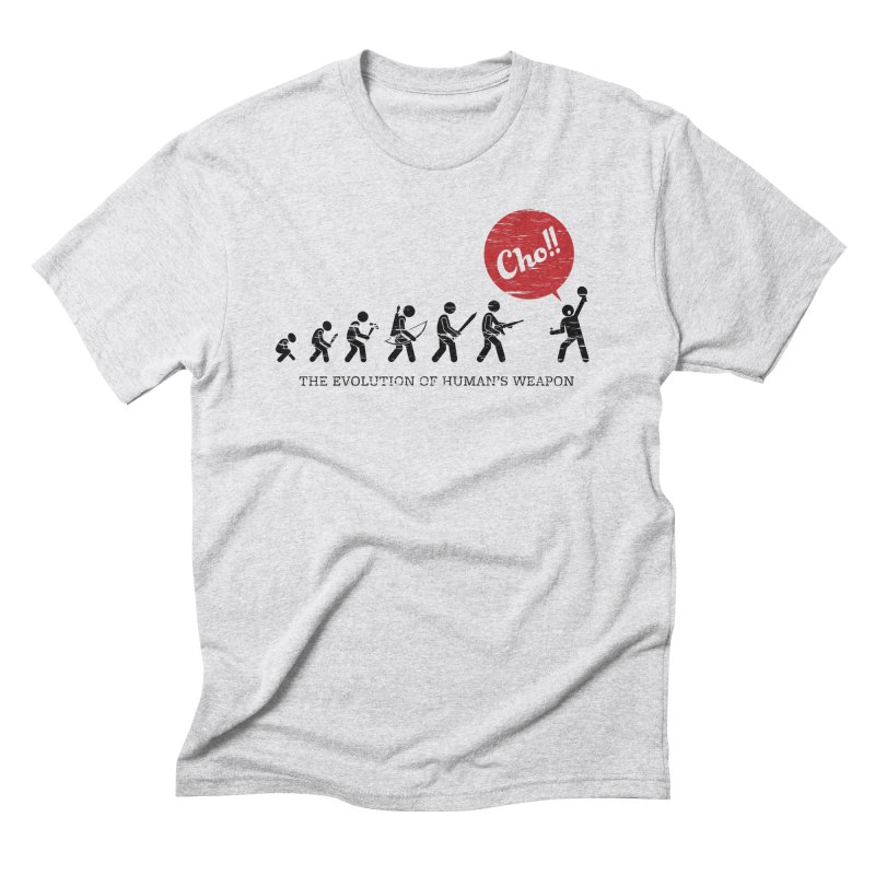 The Evolution of Human's Weapon Men's Triblend T-Shirt by PingSunday's Table Tennis Merchandise.