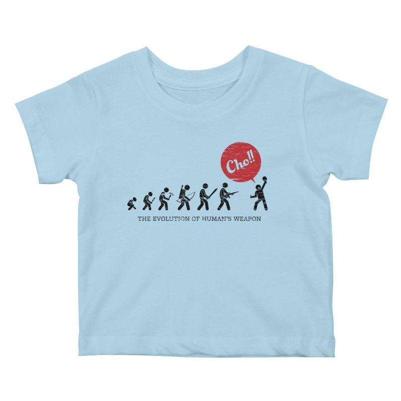 The Evolution of Human's Weapon Kids Baby T-Shirt by PingSunday's Table Tennis Merchandise.