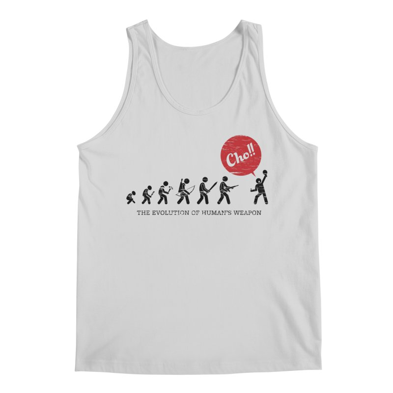 The Evolution of Human's Weapon Men's Regular Tank by PingSunday's Table Tennis Merchandise.