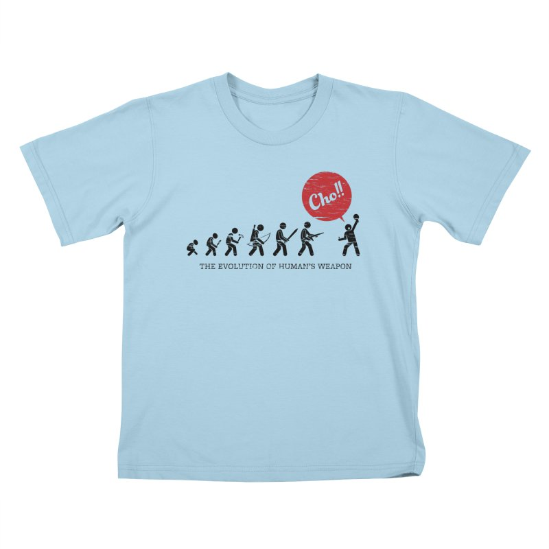 The Evolution of Human's Weapon Kids T-Shirt by PingSunday's Table Tennis Merchandise.