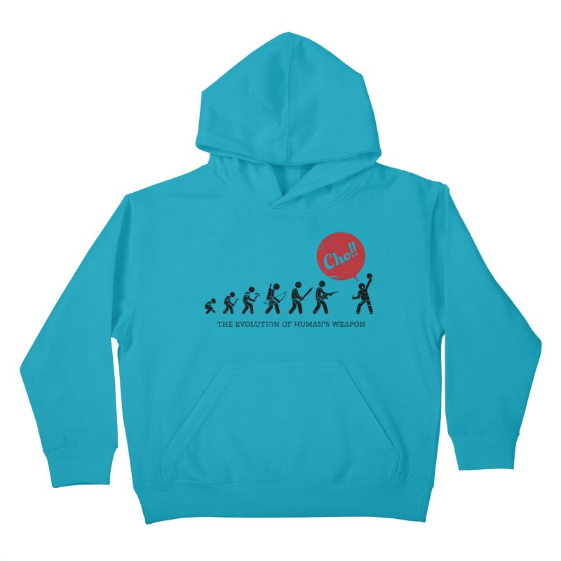 The Evolution of Human's Weapon Kids Pullover Hoody by PingSunday's Table Tennis Merchandise.