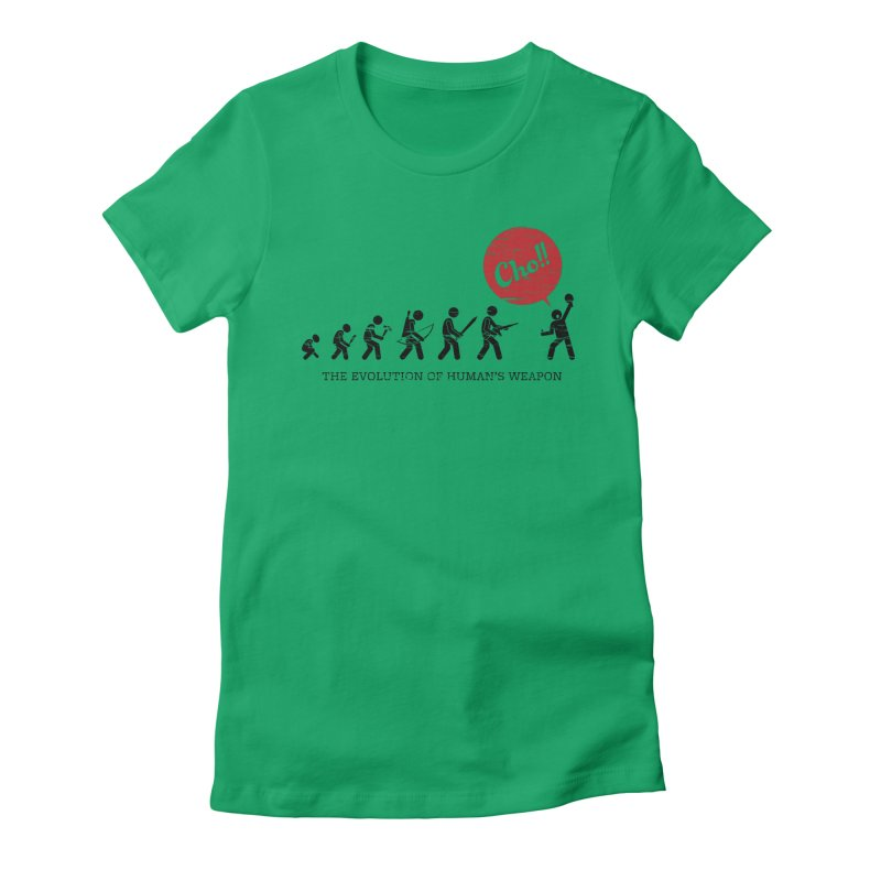 The Evolution of Human's Weapon Women's Fitted T-Shirt by PingSunday's Table Tennis Merchandise.