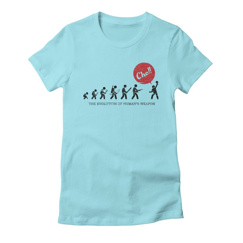 The Evolution of Human's Weapon Women's T-Shirt by PingSunday's Table Tennis Merchandise.