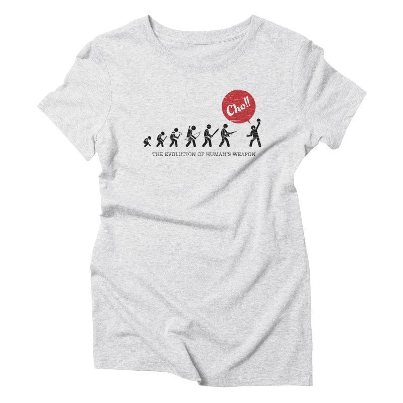 The Evolution of Human's Weapon Women's Triblend T-Shirt by PingSunday's Table Tennis Merchandise.