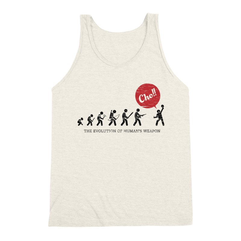 The Evolution of Human's Weapon Men's Triblend Tank by PingSunday's Table Tennis Merchandise.