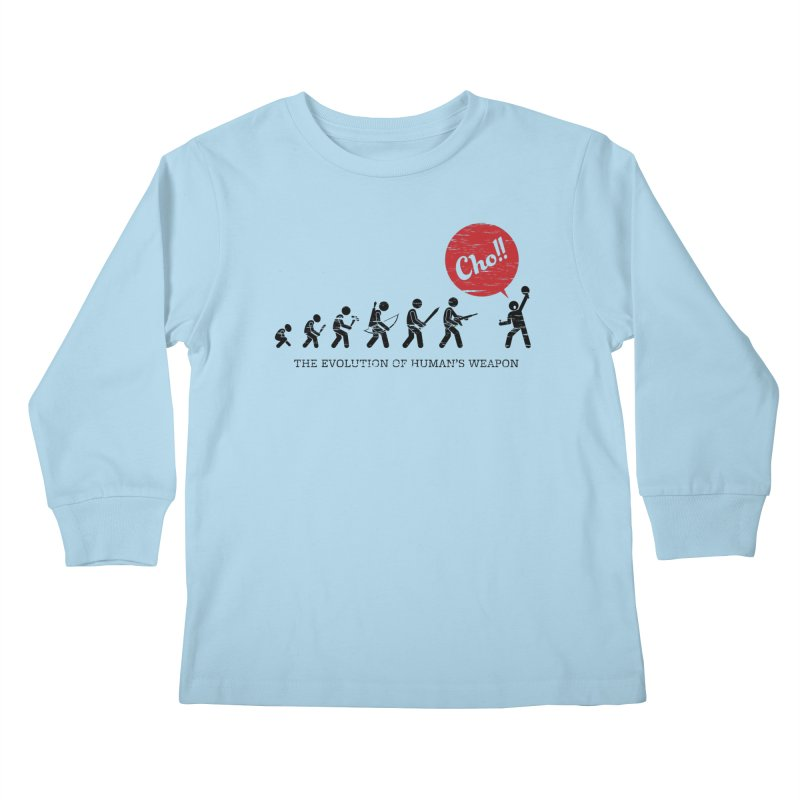 The Evolution of Human's Weapon Kids Longsleeve T-Shirt by PingSunday's Table Tennis Merchandise.
