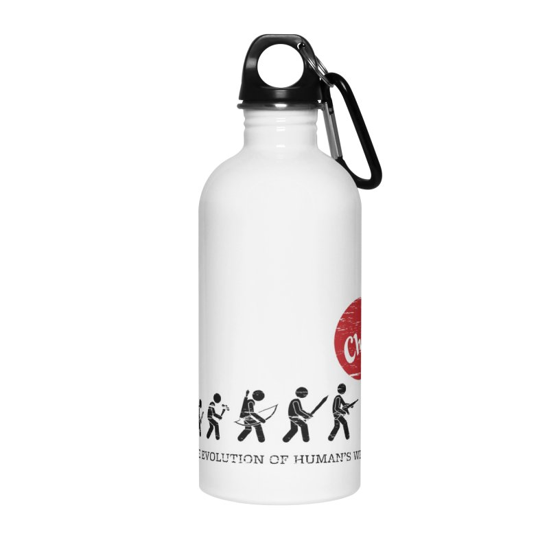 The Evolution of Human's Weapon Accessories Water Bottle by PingSunday's Table Tennis Merchandise.