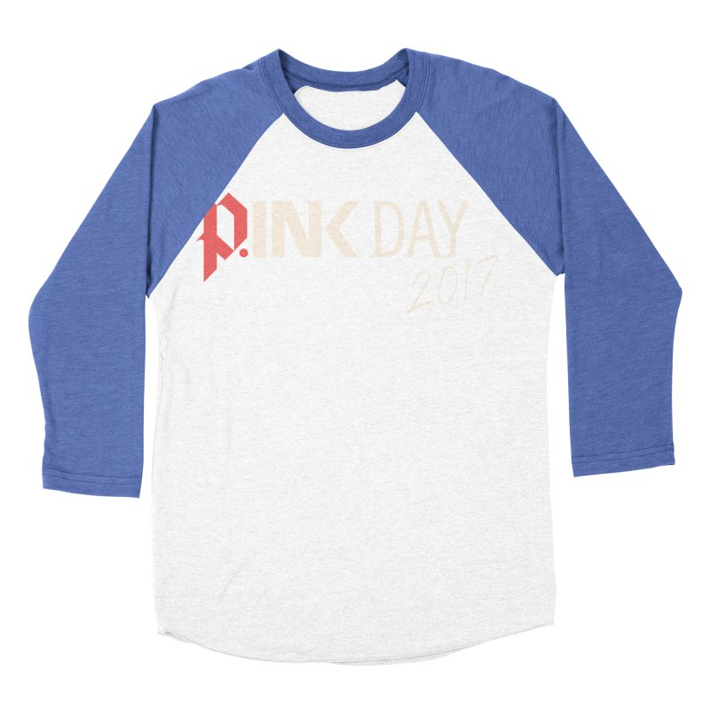 P.ink Day 2017 Logo Gear — Color Mix Women's Baseball Triblend Longsleeve T-Shirt by P.INK—don't let breast cancer leave the last mark