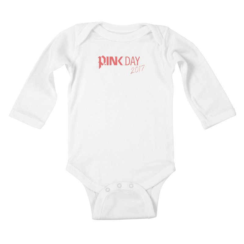 P.ink Day 2017 Logo Gear — Classic Mix Kids Baby Longsleeve Bodysuit by P.INK—don't let breast cancer leave the last mark