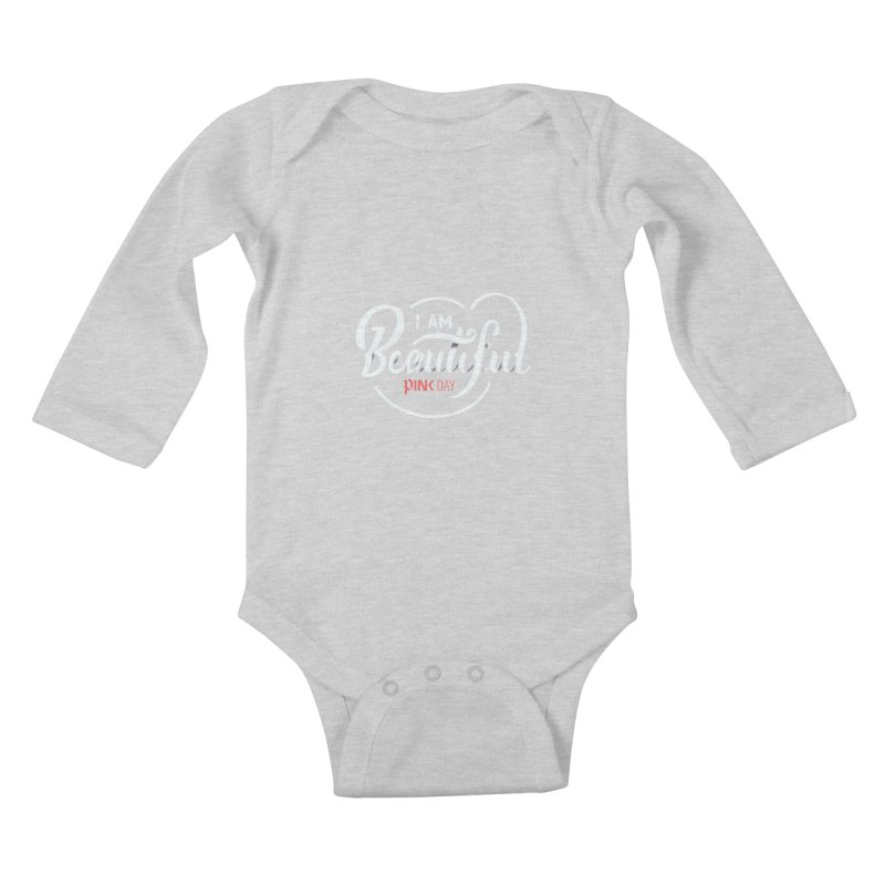 P.ink Day - I am Beautiful - Permanent Collection Kids Baby Longsleeve Bodysuit by P.INK—don't let breast cancer leave the last mark