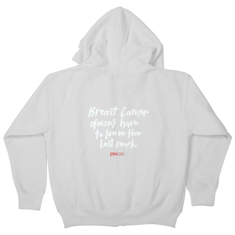 P.ink Day - Breast Cancer Doesn't Have to Leave the Last Mark - White - Permanent Collection Kids Zip-Up Hoody by P.INK—don't let breast cancer leave the last mark