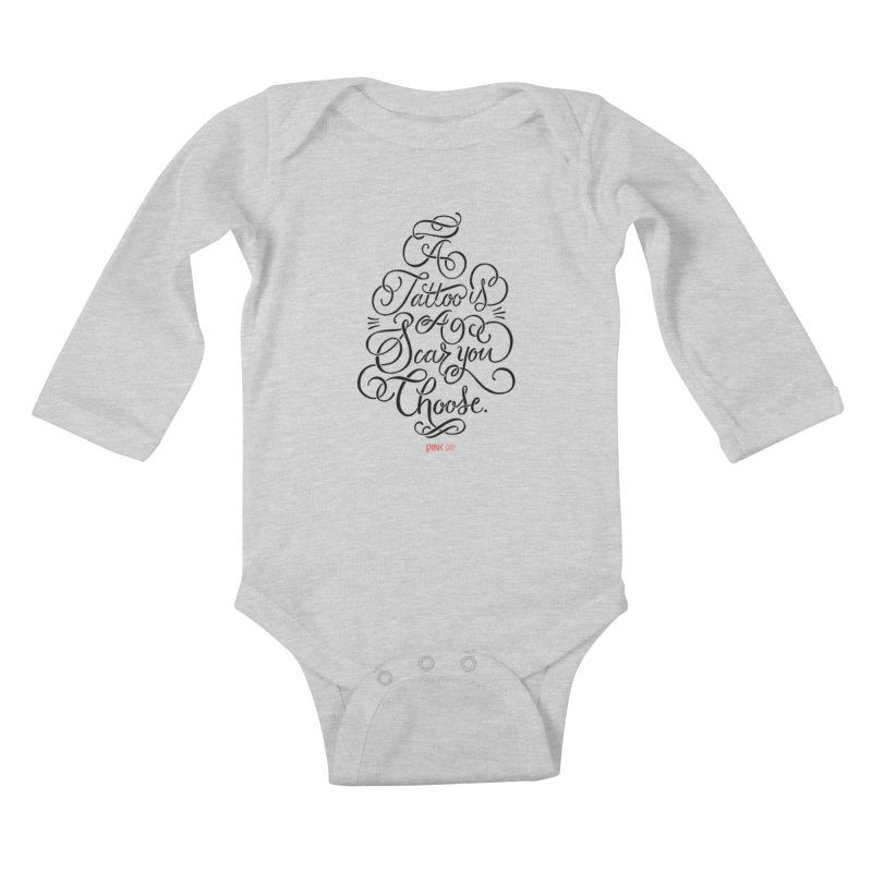 P.ink Day - A Tattoo is a Scar You Choose - Black - Permanent Collection Kids Baby Longsleeve Bodysuit by P.INK—don't let breast cancer leave the last mark
