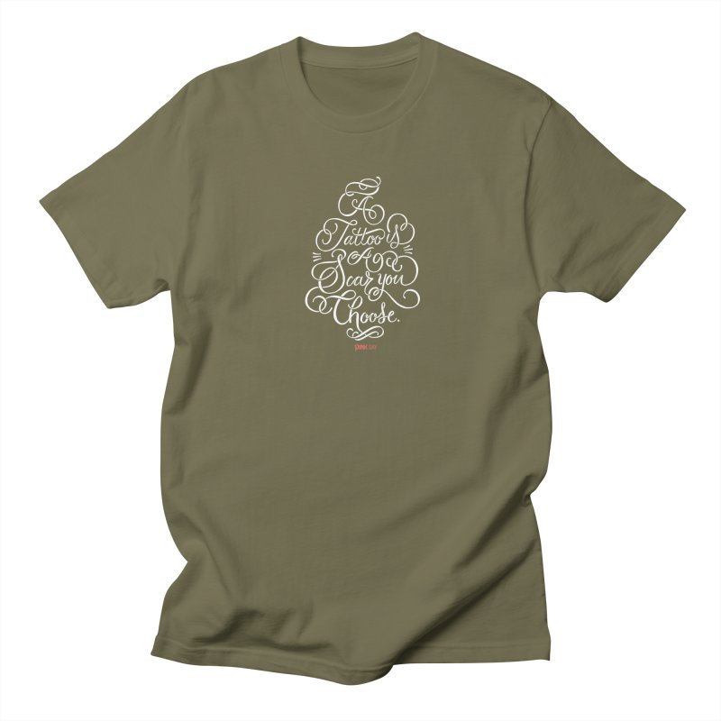 P.ink Day - A Tattoo is a Scar You Choose - White - Permanent Collection Men's T-Shirt by P.INK—don't let breast cancer leave the last mark