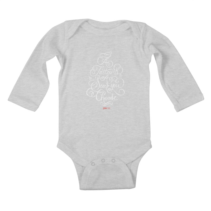 P.ink Day - A Tattoo is a Scar You Choose - White - Permanent Collection Kids Baby Longsleeve Bodysuit by P.INK—don't let breast cancer leave the last mark