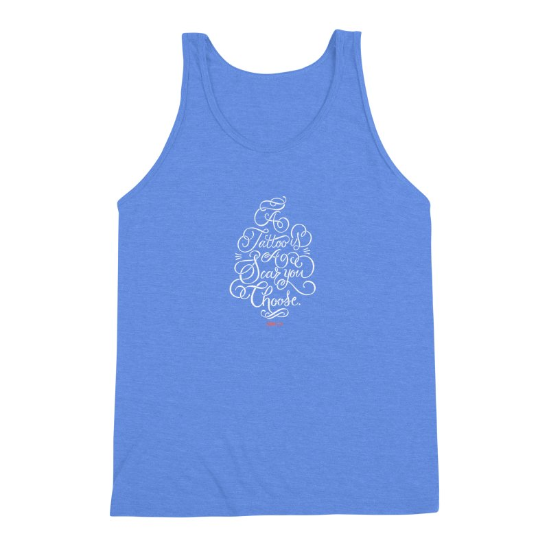 P.ink Day - A Tattoo is a Scar You Choose - White - Permanent Collection Men's Triblend Tank by P.INK—don't let breast cancer leave the last mark