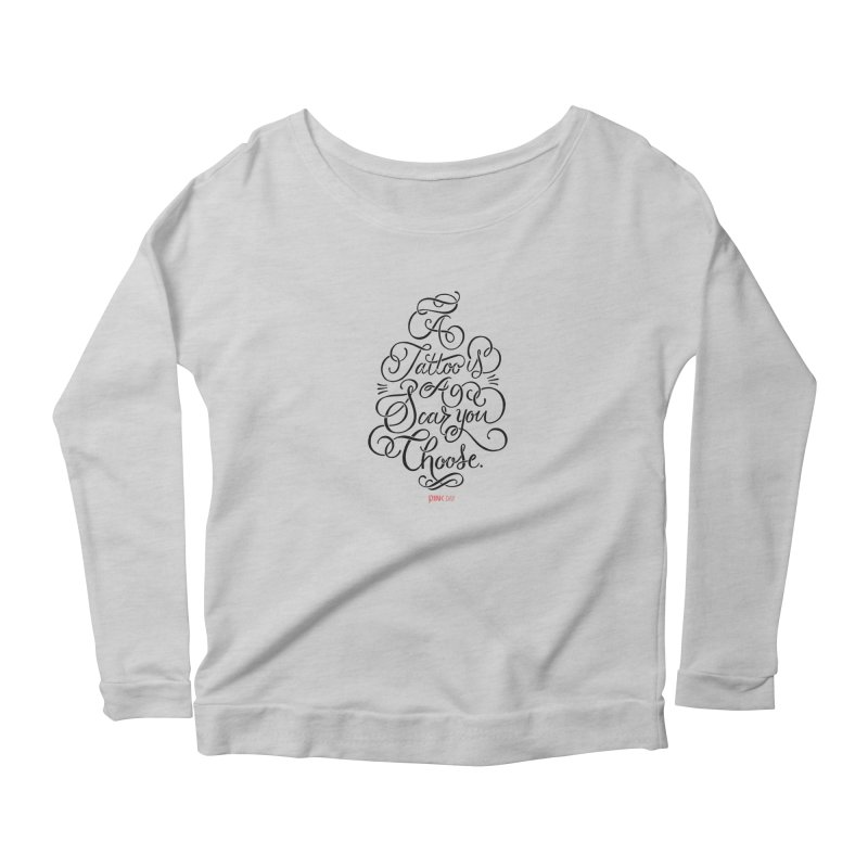 P.ink Day A Tattoo Is a Scar You Choose / Black Wear in Women's Scoop Neck Longsleeve T-Shirt Heather Grey by P.INK—don't let breast cancer leave the last mark