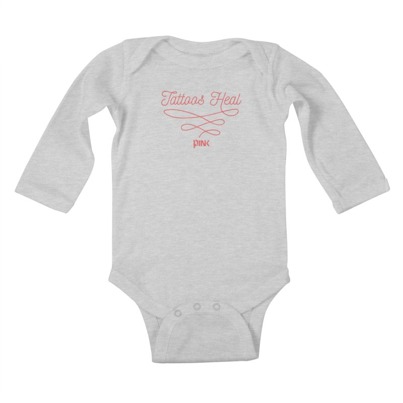 P.ink Tattoos Heal Wear Kids Baby Longsleeve Bodysuit by P.INK—don't let breast cancer leave the last mark