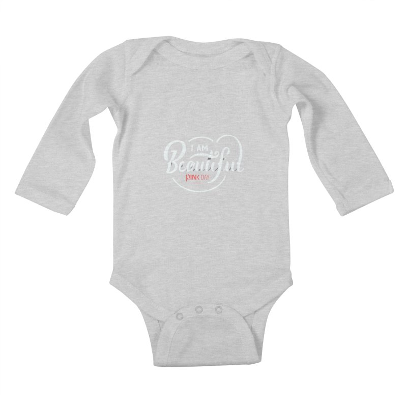 P.ink Day 2016 I Am Beautiful / White Wear Kids Baby Longsleeve Bodysuit by P.INK—don't let breast cancer leave the last mark