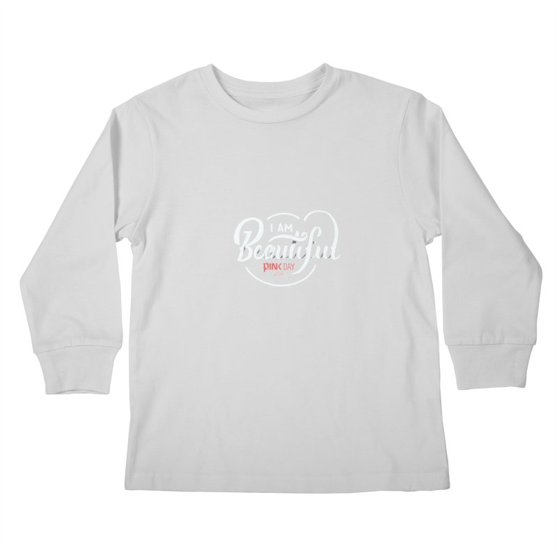 P.ink Day 2016 I Am Beautiful / White Wear Kids Longsleeve T-Shirt by P.INK—don't let breast cancer leave the last mark