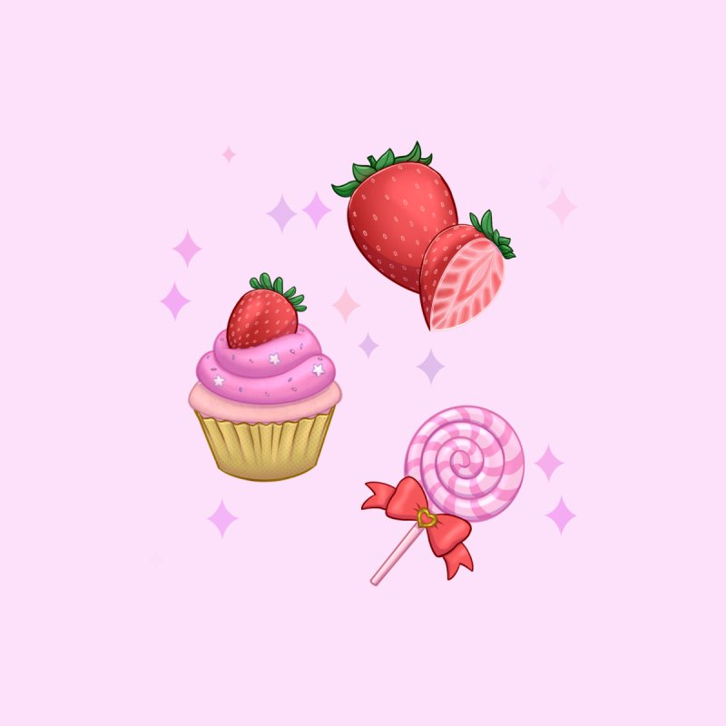 Strawberry Candy Men's T-Shirt by Pink Brownie