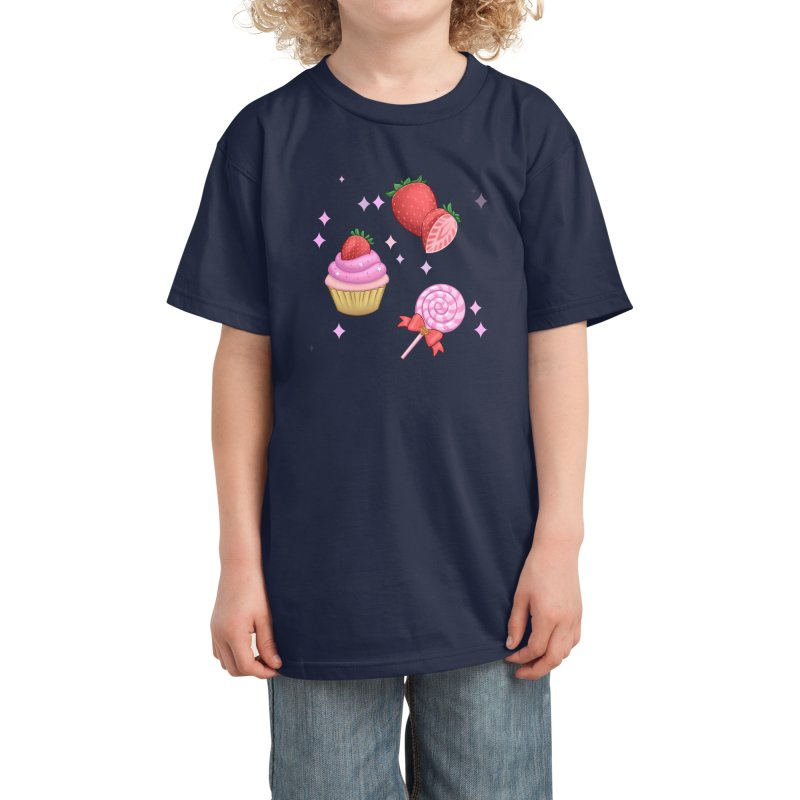 Strawberry Candy Kids T-Shirt by Pink Brownie