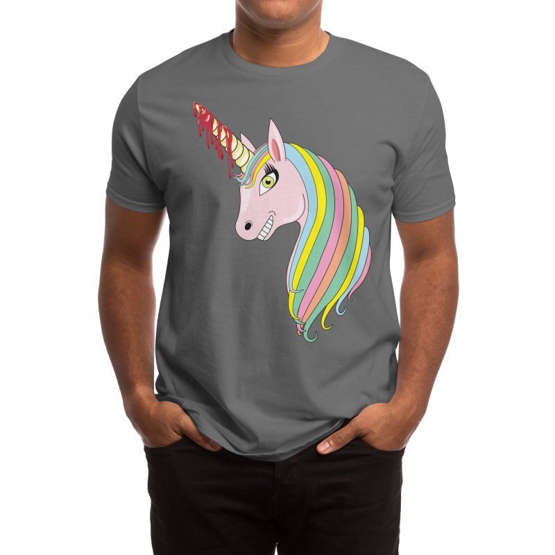 Colorful Murdercorn! - Funny Unicorn With Bloody Horn Men's T-Shirt by Pink Donut Graphic Tees
