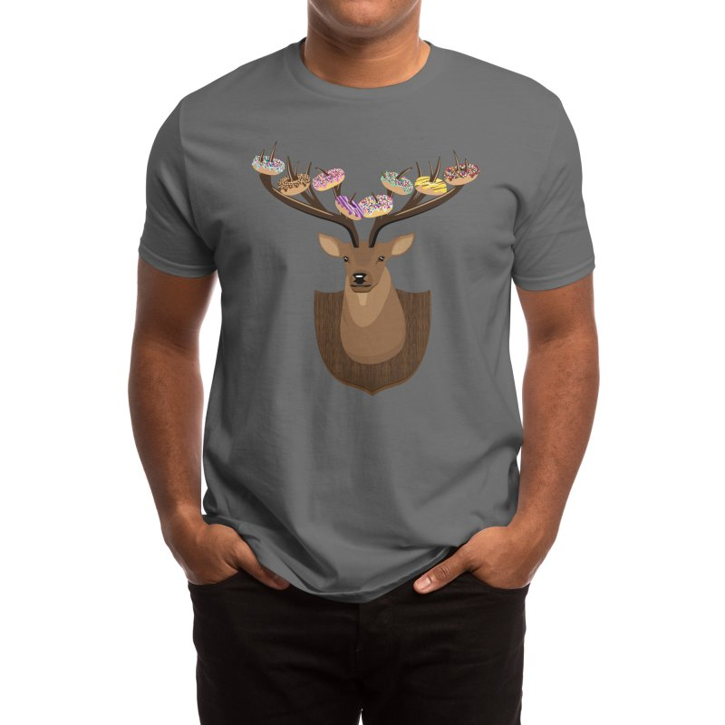 Cute Mounted Donut Deer - Donuts on Deer Antlers Men's T-Shirt by Pink Donut Graphic Tees