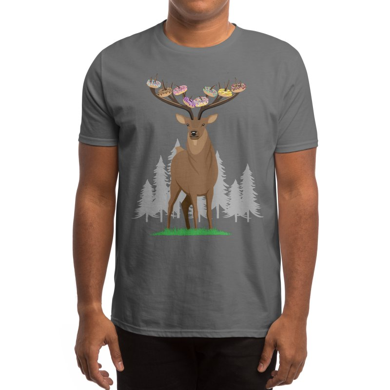 Donut Deer - Funny Deer With Donuts on Antlers Men's T-Shirt by Pink Donut Graphic Tees