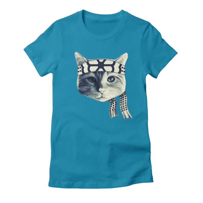 Karate Cat Women's Fitted T-Shirt by Pinkstorm