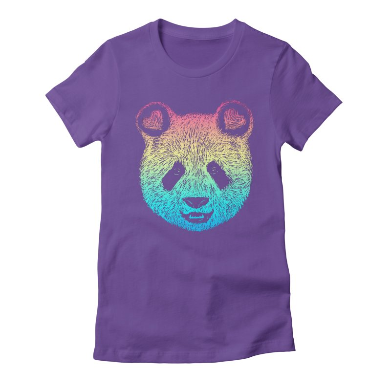 Rainbow Panda Women's Fitted T-Shirt by Pinkstorm