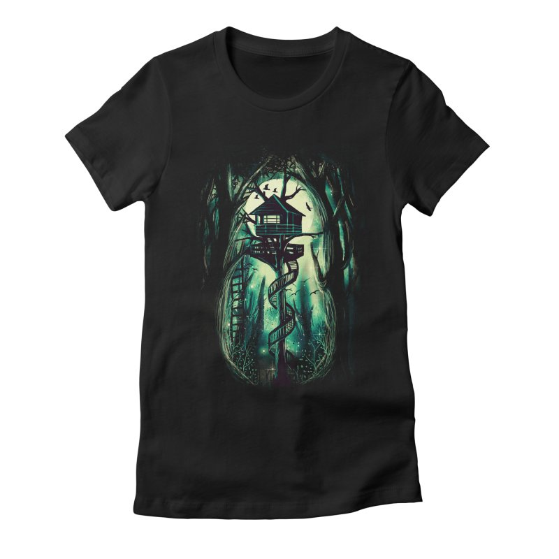 Magical Treehouse Women's Fitted T-Shirt by Pinkstorm