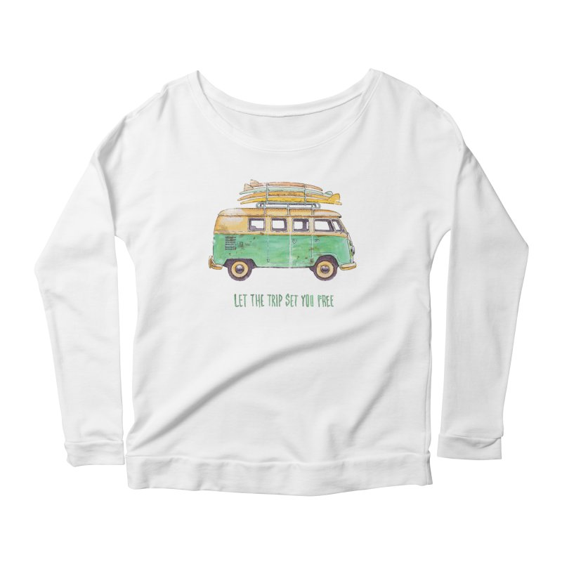 """""""Let the trip set you free"""": take time to live! Women's Scoop Neck Longsleeve T-Shirt by Pinupart.it - Mad Mac"""