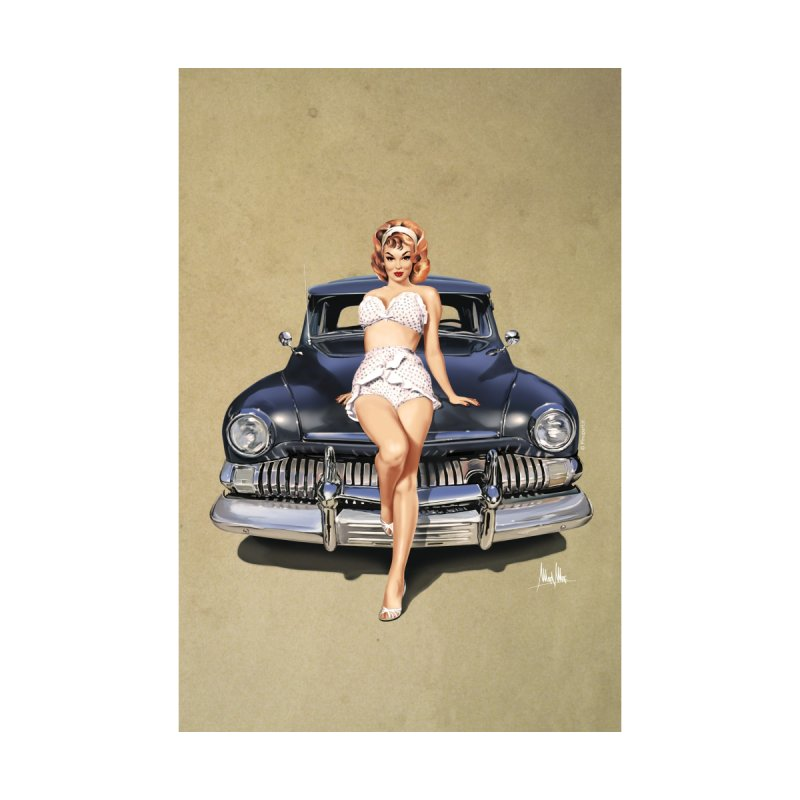 """I'm here for you!"": classic Pin-Up on classic Car. Home Fine Art Print by Pinupart.it - Mad Mac Art"