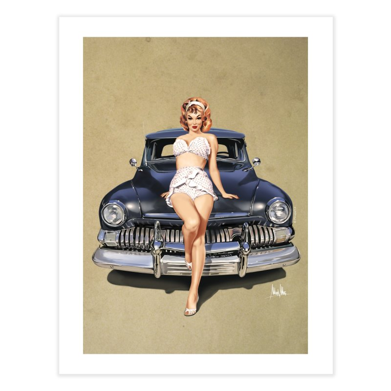 """""""I'm here for you!"""": classic Pin-Up on classic Car. Home Fine Art Print by Pinupart.it - Mad Mac Art"""