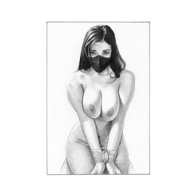 """Put on the mask"": a bondage lady in quarantine. Home Framed Fine Art Print by Pinupart.it - Mad Mac Art"