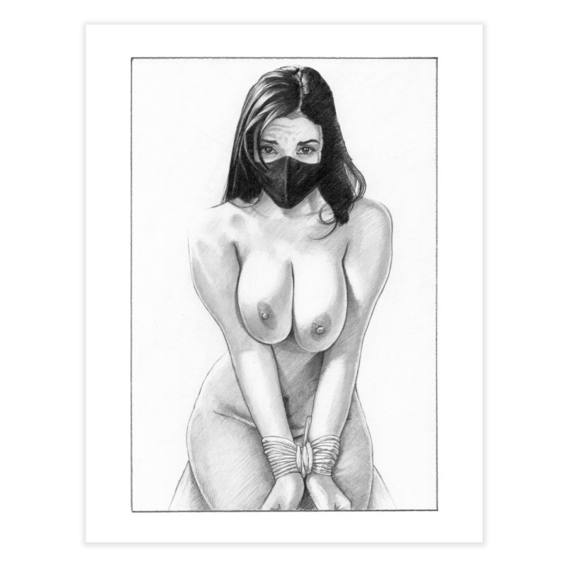 """Put on the mask"": a bondage lady in quarantine. Home Fine Art Print by Pinupart.it - Mad Mac Art"