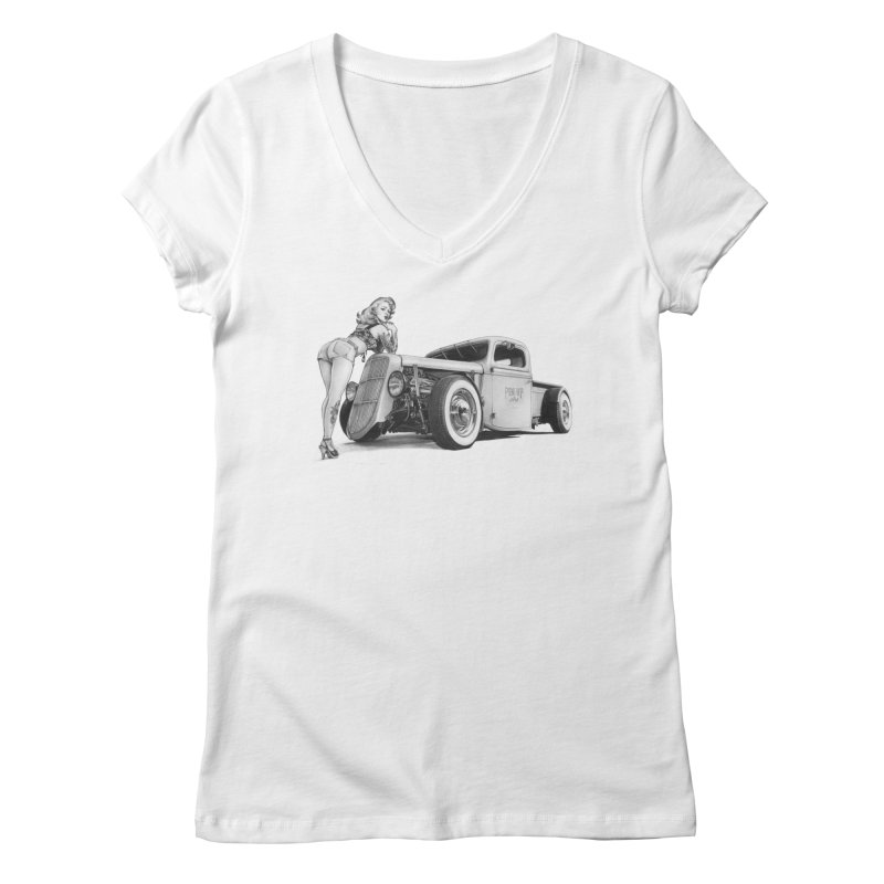 """""""Hot Rod and Tattoo"""": a cool mix! Women's V-Neck by Pinupart.it - Mad Mac Art"""