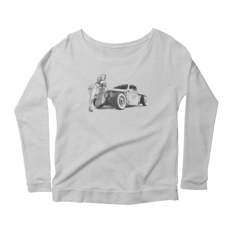 """""""Hot Rod and Tattoo"""": a cool mix! Women's Scoop Neck Longsleeve T-Shirt by Pinupart.it - Mad Mac"""