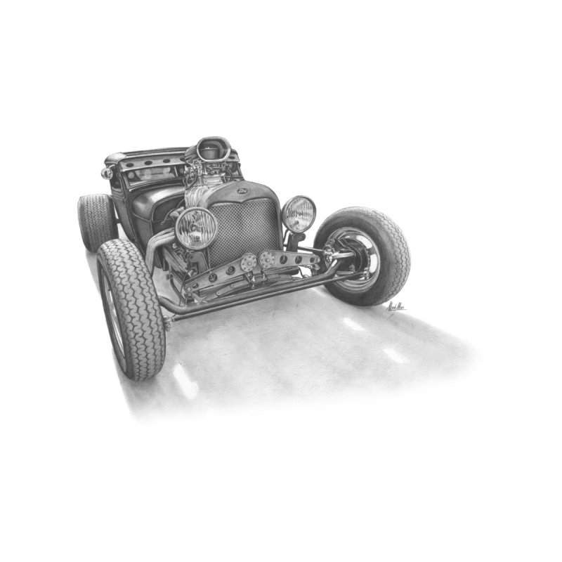 """Rat Rod"": me, a pencil and a 30s Ford Hot Rod. Home Framed Fine Art Print by Pinupart.it - Mad Mac Art"