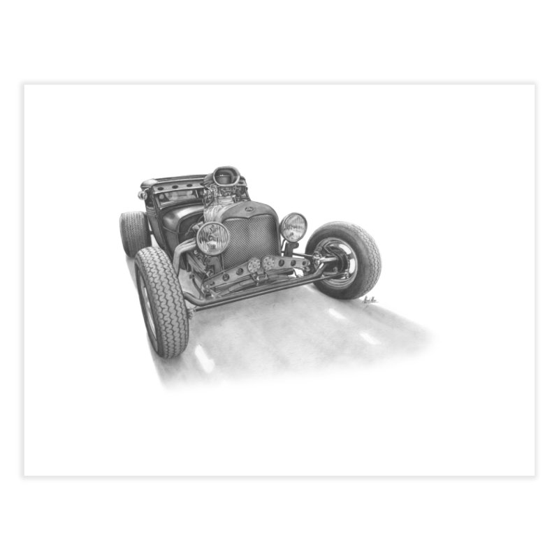 """""""Rat Rod"""": me, a pencil and a 30s Ford Hot Rod. Home Fine Art Print by Pinupart.it - Mad Mac Art"""