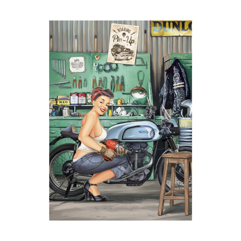 """Sweet hands"": a Pin-Up in a garage? Home Framed Fine Art Print by Pinupart.it - Mad Mac Art"