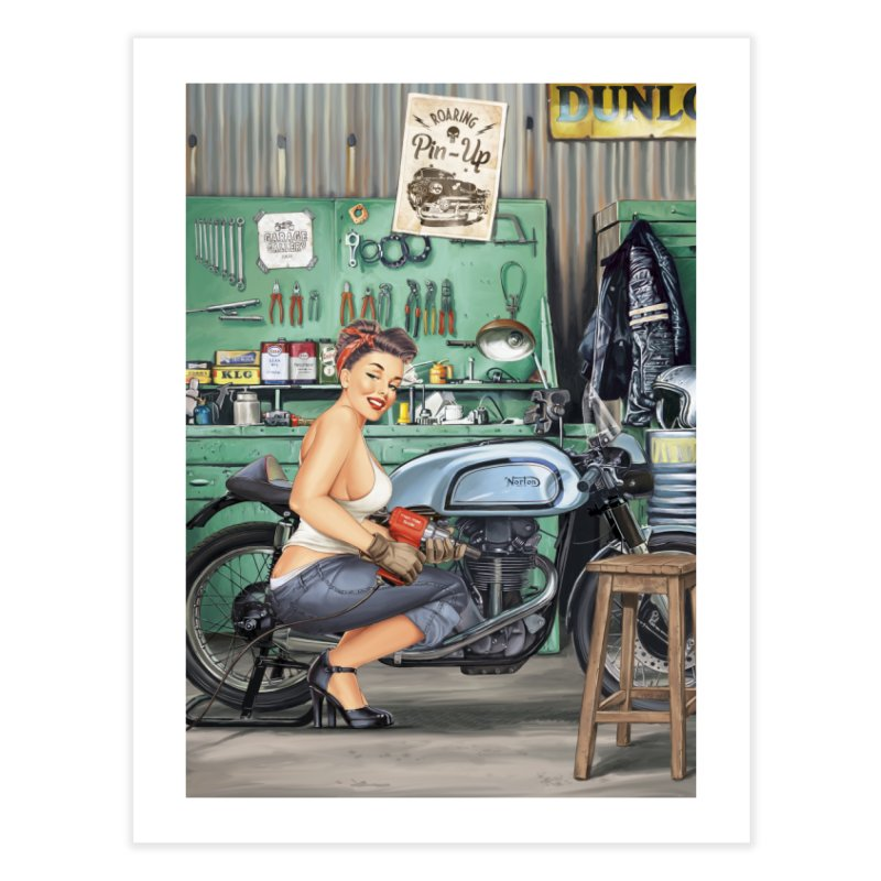 """""""Sweet hands"""": a Pin-Up in a garage? Home Fine Art Print by Pinupart.it - Mad Mac Art"""